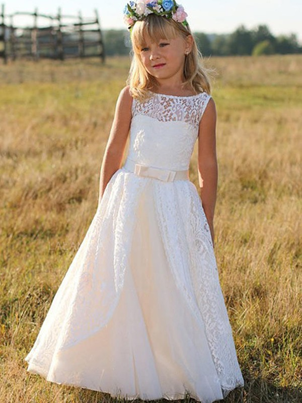 A-Line Sleeveless Scoop Floor-Length With Sash/Ribbon/Belt Lace Flower Girl Dresses