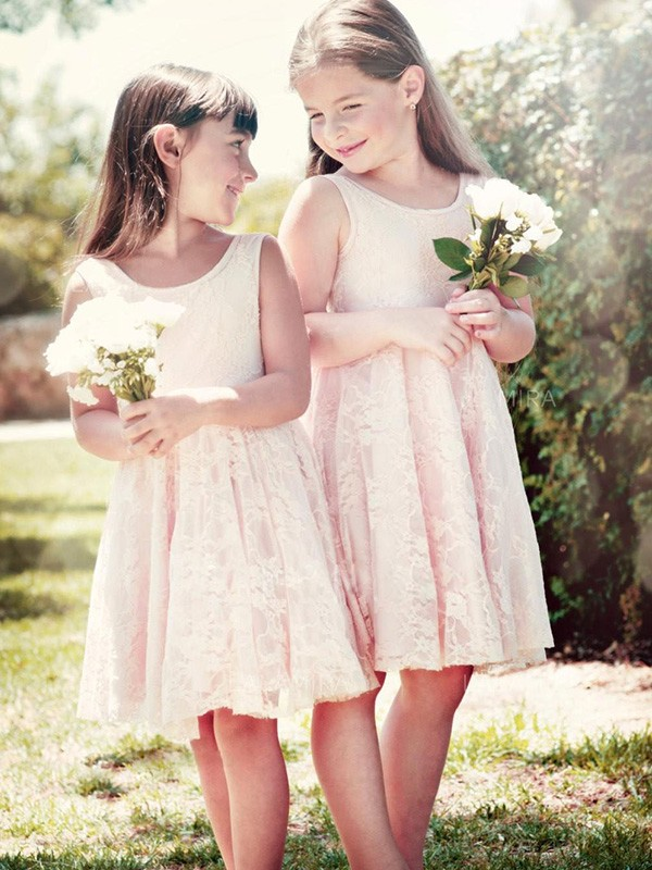 A-Line Sleeveless Scoop Knee-Length With Ruffles Lace Flower Girl Dresses