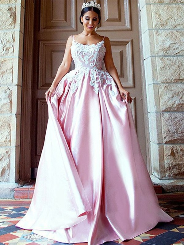 Ball Gown Sleeveless Spaghetti Straps Sweep/Brush Train With Applique Satin Dresses