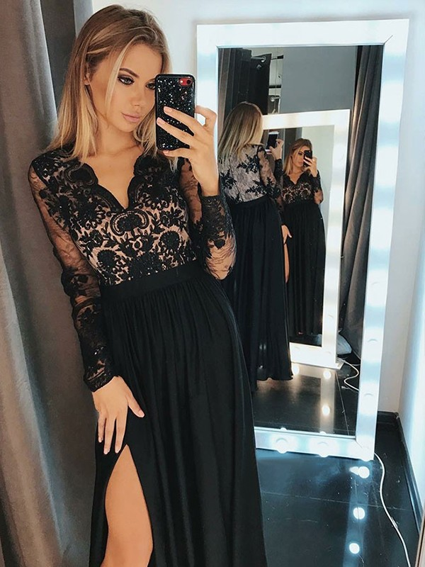 A-Line Long Sleeves V-neck Floor-Length With Applique Chiffon Dresses