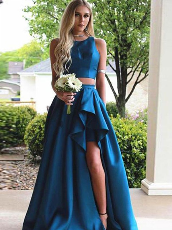 A-Line Sleeveless Scoop Sweep/Brush Train With Ruffles Satin Two Piece Dresses
