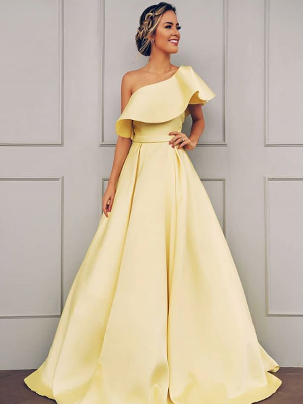 A-Line Sleeveless One-Shoulder Floor-Length With Ruffles Satin Dresses