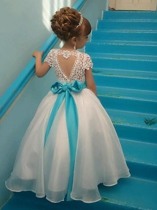 Ball Gown Short Sleeves Scoop Floor-Length With Beading Organza Flower Girl Dresses