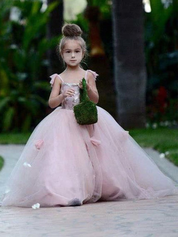 Ball Gown Sleeveless Spaghetti Straps Sweep/Brush Train With Applique Tulle Flower Girl Dresses