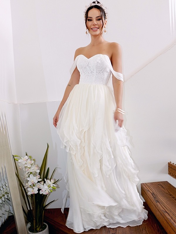 A-Line Chiffon With Ruched Off-the-Shoulder Sleeveless Floor-Length Wedding Dresses