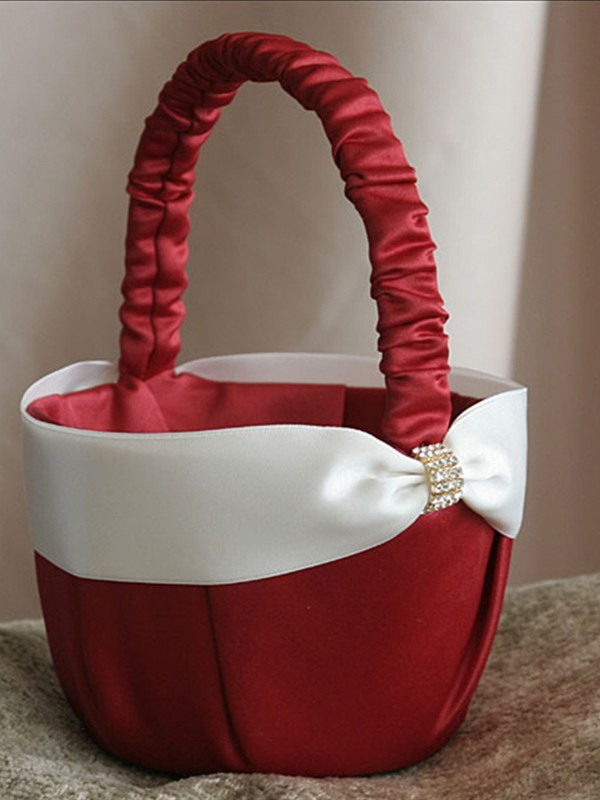 Nice Flower Basket In Cloth With Sash
