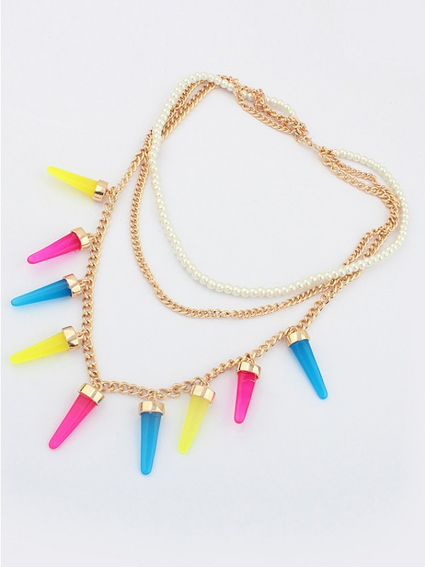 Occident Hyperbolic Candy colors Multi-layered Conical Hot Sale Necklace