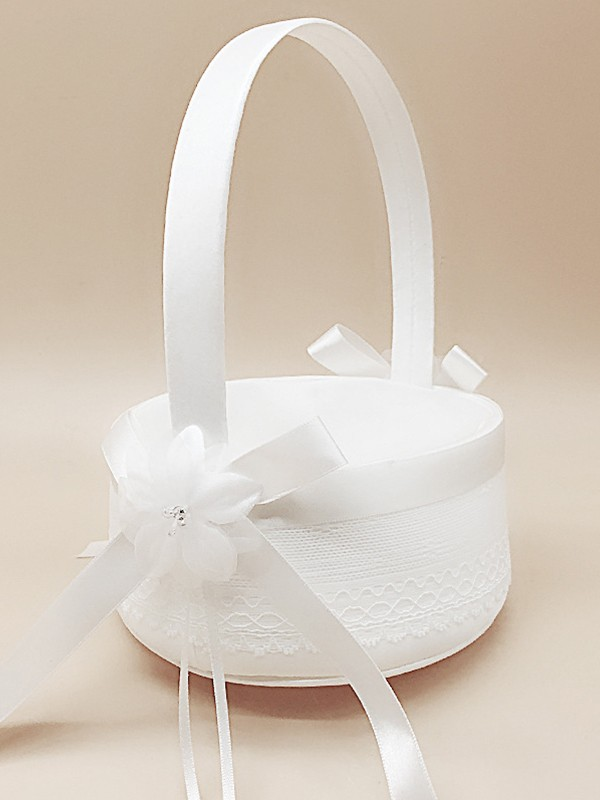 Attractive Flower Basket In Satin With Hand-Made Flower/Bowknot