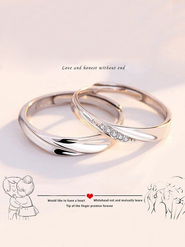 Elegant S925 Silver With Rhinestone Adjustable Couple Rings
