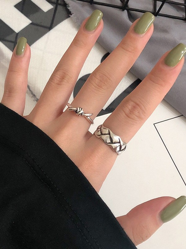 Fancy S925 Silver With Roman Numerals Adjustable Rings