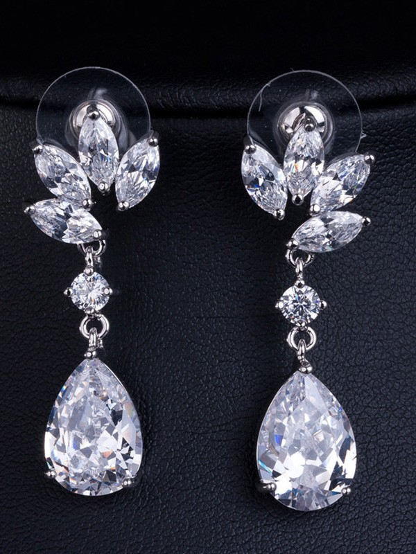 Fashionable Copper With Crystal Earrings For Women