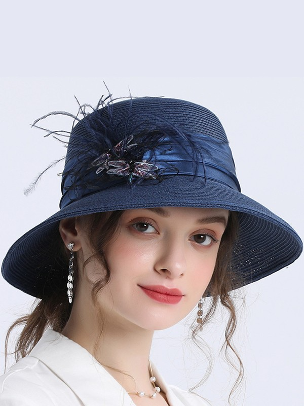 Ladies' Stylish Papyrus With Feather Straw Hats