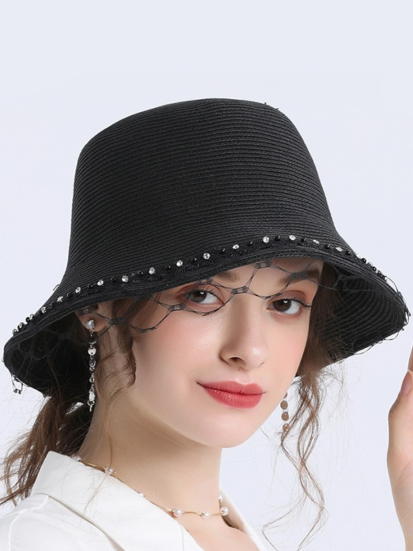 Ladies' Delicate Wheat Straw Rhinestone Fedora Hats