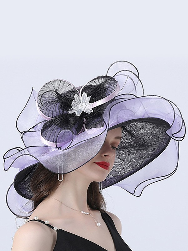 Ladies' Graceful Organza With Flower Floppy Hats/Beach/Sun Hats/Kentucky Derby Hats