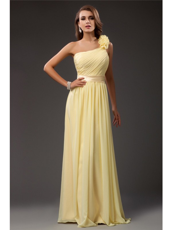Sheath Chiffon One-Shoulder Sleeveless Floor-Length With Ruffles Dresses