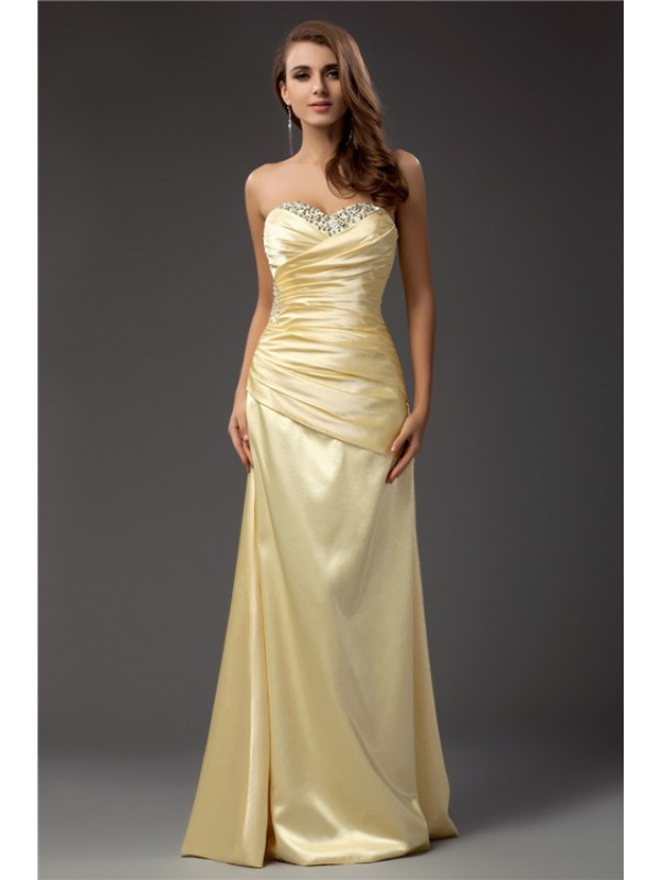 Sheath Taffeta Sweetheart Sleeveless Floor-Length With Beading Dresses