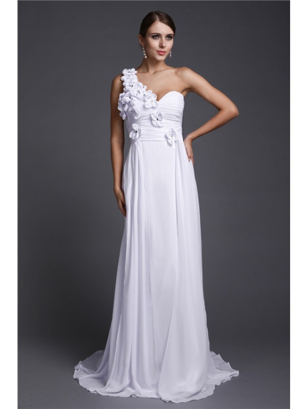 A-Line Chiffon One-Shoulder Sleeveless Sweep/Brush Train With Hand-Made Flower Dresses