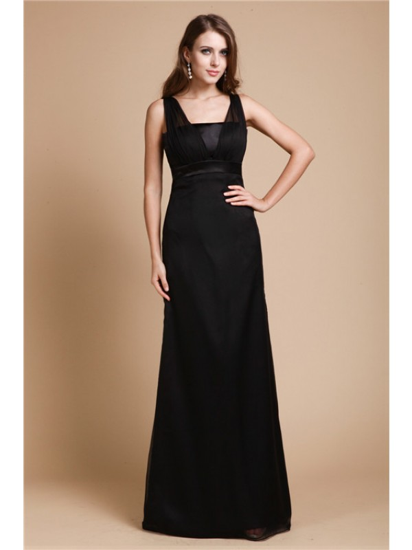 Sheath Chiffon Straps Sleeveless Floor-Length With Sash/Ribbon/Belt Dresses