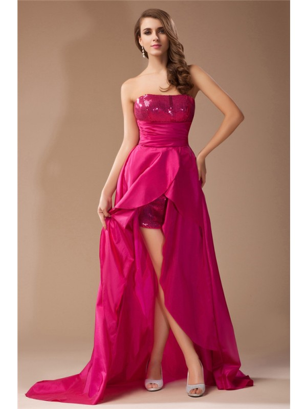 A-Line Taffeta Strapless Sleeveless Asymmetrical With Sequin Dresses