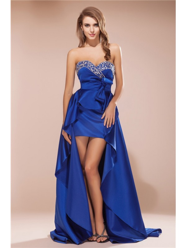 A-Line Satin Sweetheart Sleeveless Asymmetrical With Rhinestone Dresses