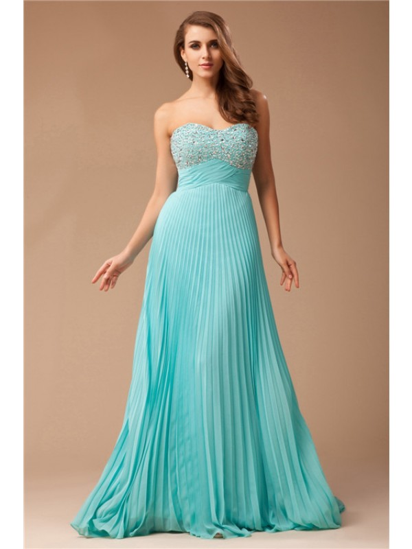 Empire Chiffon Sweetheart Sleeveless Floor-Length With Beading Dresses