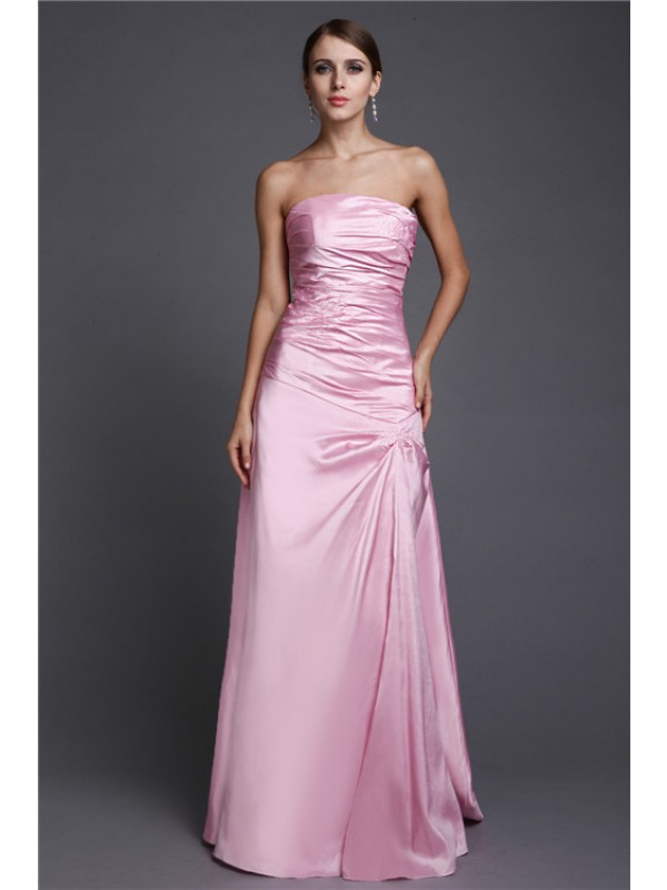 A-Line Elastic Woven Satin Strapless Sleeveless Floor-Length With Beading Dresses