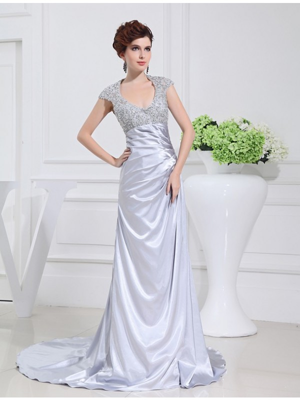 A-Line Elastic Woven Satin Scoop Sleeveless Sweep/Brush Train With Beading Dresses