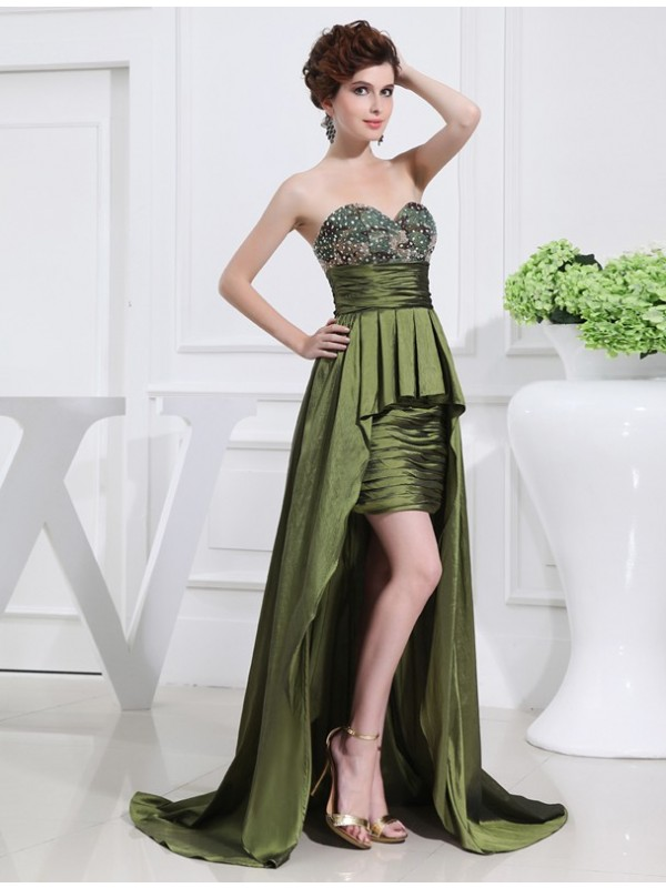 A-Line Taffeta Sweetheart Sleeveless Asymmetrical With Beading Dresses