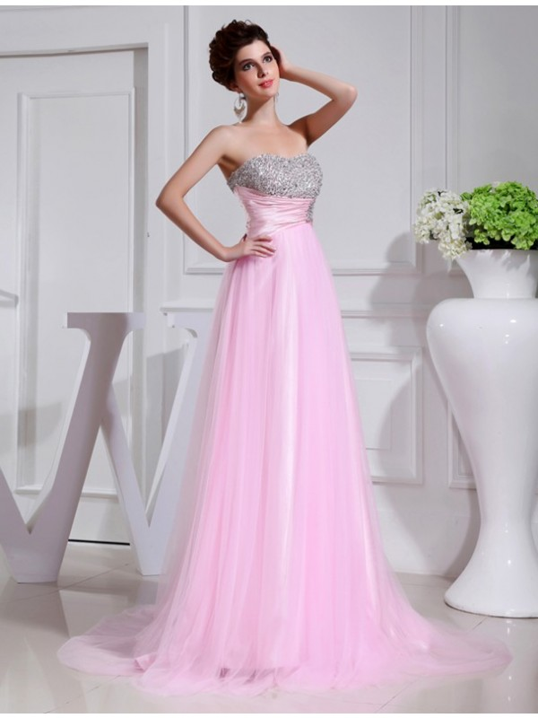 A-Line Tulle Strapless Sleeveless Sweep/Brush Train With Beading Dresses