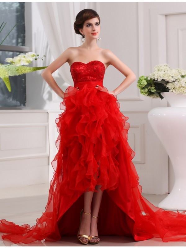 A-Line Organza Sweetheart Sleeveless Asymmetrical With Sequin Dresses