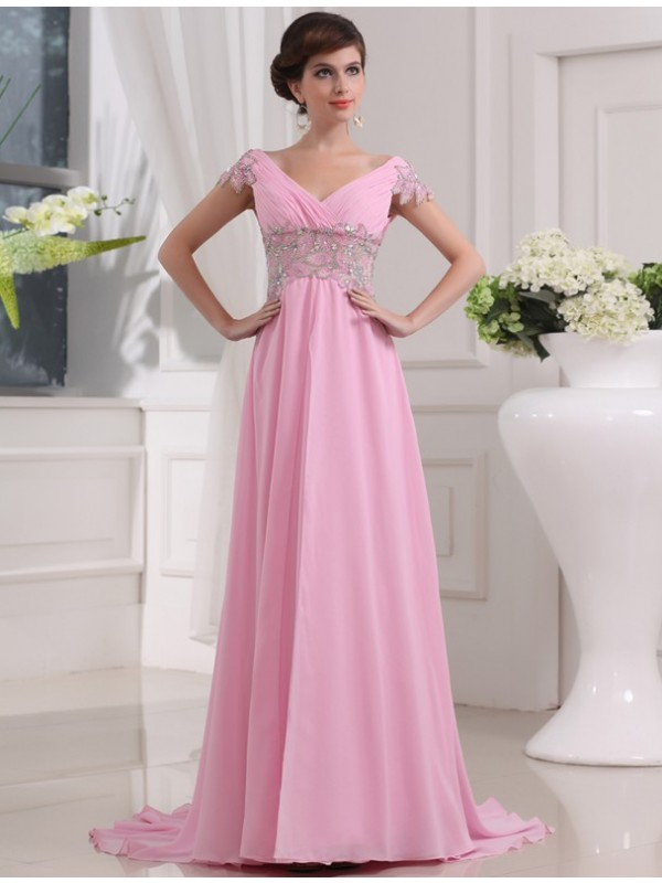 A-Line Chiffon V-neck Short Sleeves Sweep/Brush Train With Beading Dresses