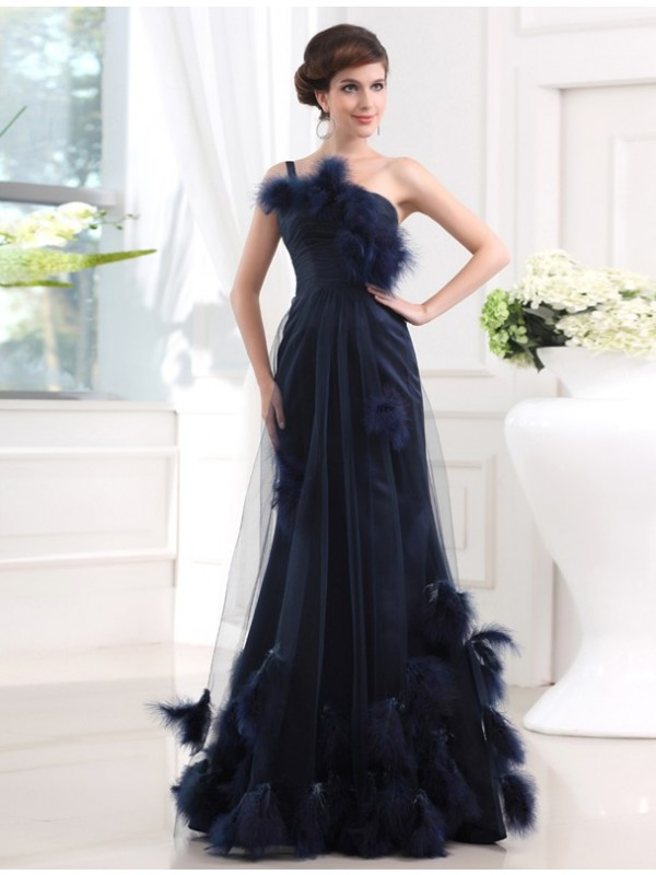 Mermaid Satin One-Shoulder Sleeveless Floor-Length With Feathers/Fur Dresses