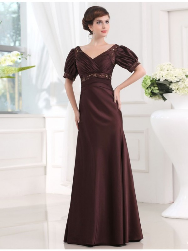 Sheath Satin V-neck 1/2 Sleeves Floor-Length With Beading Dresses