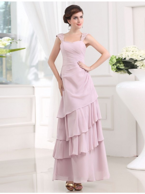 A-Line Chiffon Straps Sleeveless Ankle-Length With Beading Dresses