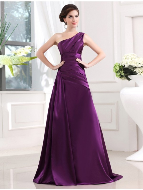 A-Line Elastic Woven Satin One-Shoulder Sleeveless Sweep/Brush Train With Pleats Dresses