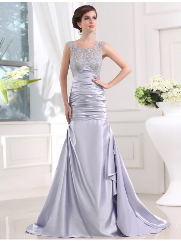 Mermaid Elastic Woven Satin Scoop Sleeveless Sweep/Brush Train With Beading Dresses
