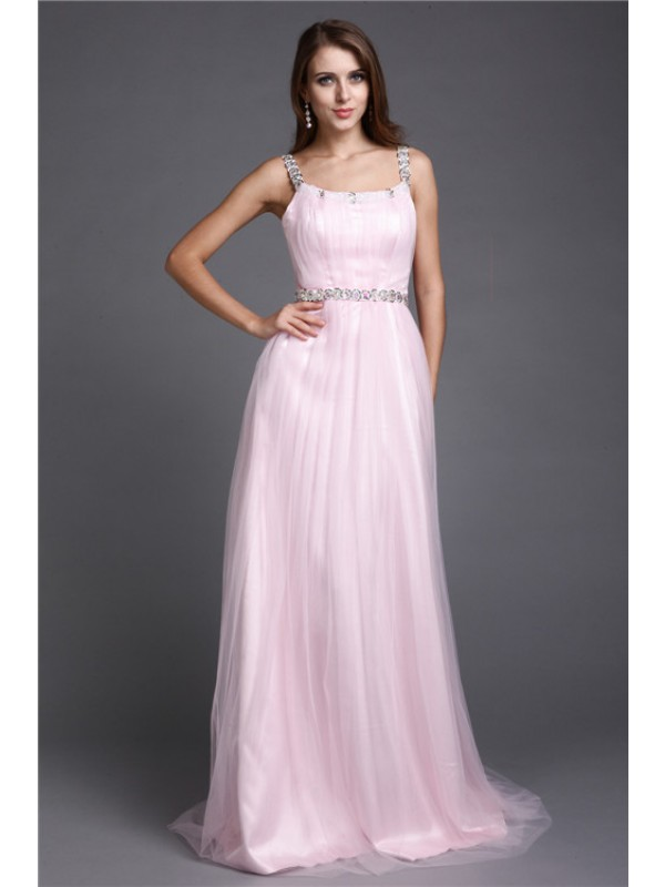 A-Line Net Spaghetti Straps Sleeveless Floor-Length With Rhinestone Dresses