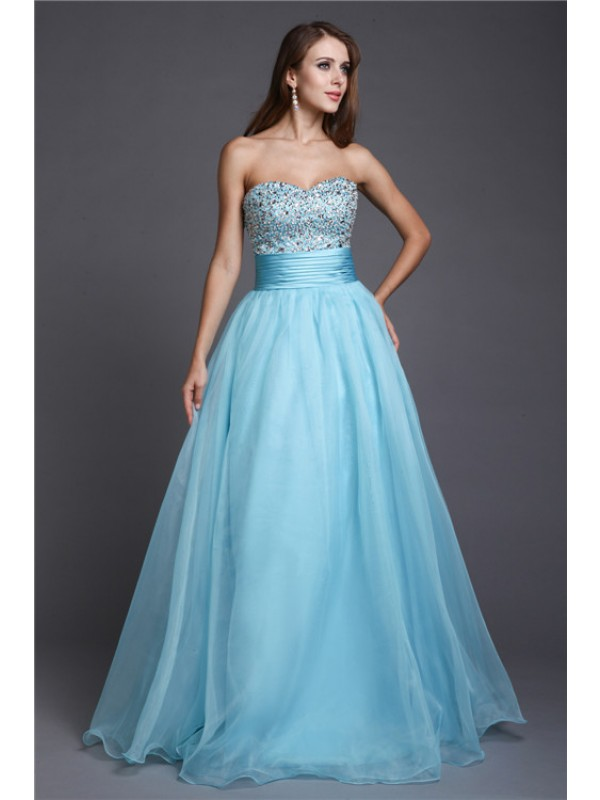 A-Line Organza Sweetheart Sleeveless Floor-Length With Beading Dresses