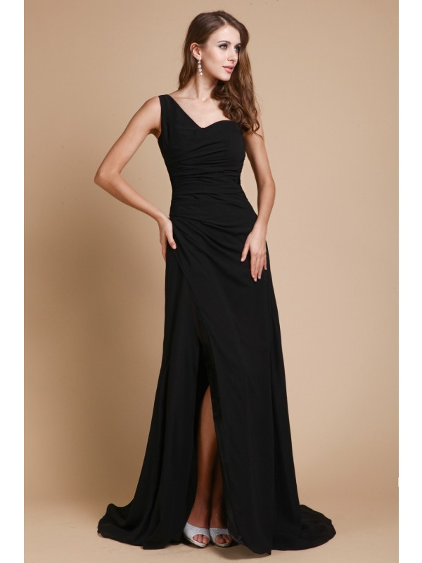 A-Line Chiffon One-Shoulder Sleeveless Sweep/Brush Train With Ruffles Dresses