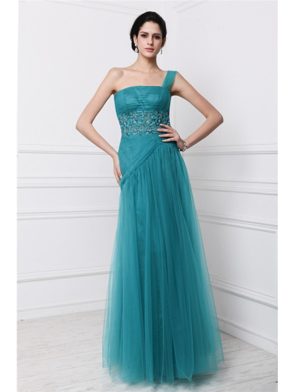 Sheath Net One-Shoulder Sleeveless Floor-Length With Beading Dresses