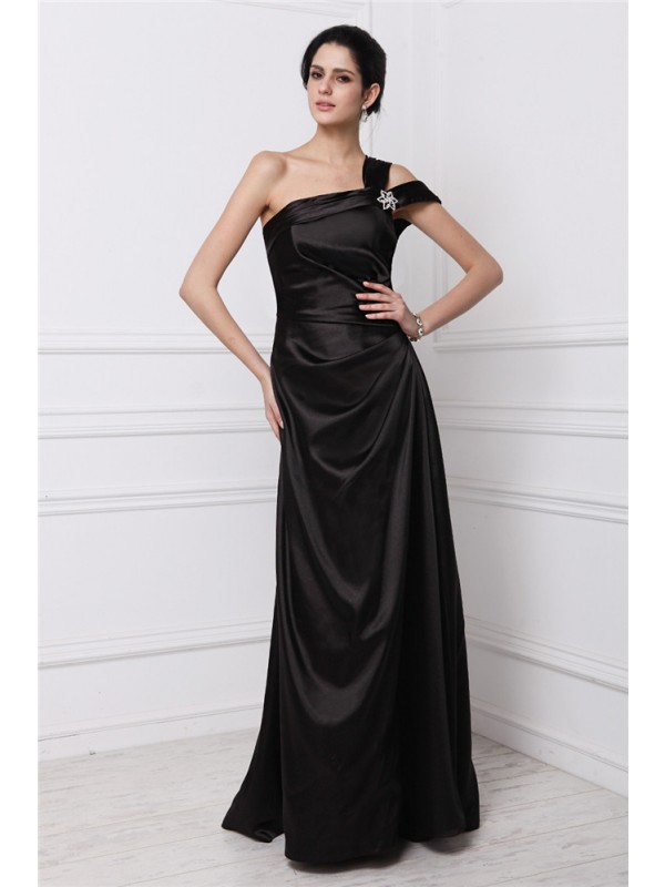 Sheath Elastic Woven Satin One-Shoulder Sleeveless Floor-Length With Beading Dresses