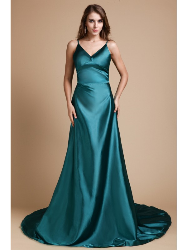 A-Line Elastic Woven Satin Spaghetti Straps Sleeveless Sweep/Brush Train With Ruffles Dresses