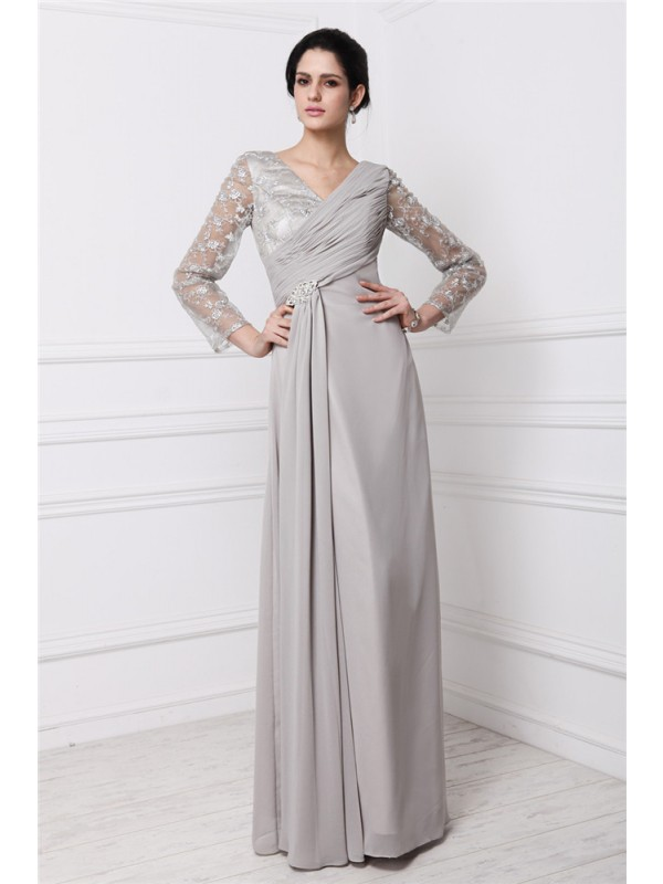 Sheath Chiffon V-neck Long Sleeves Floor-Length With Lace Dresses