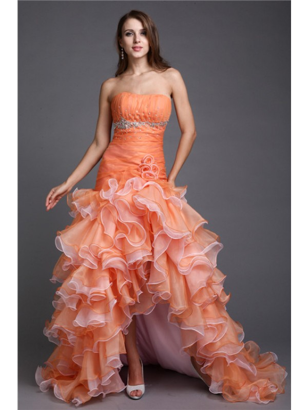 Ball Gown Organza Strapless Sleeveless Asymmetrical With Beading Dresses