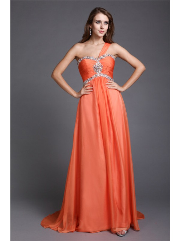 A-Line Chiffon One-Shoulder Sleeveless Sweep/Brush Train With Beading Dresses
