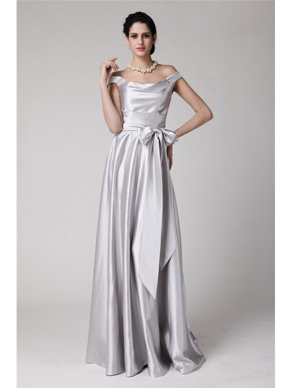 Sheath Elastic Woven Satin Off-the-Shoulder Sleeveless Floor-Length With Sash/Ribbon/Belt Dresses