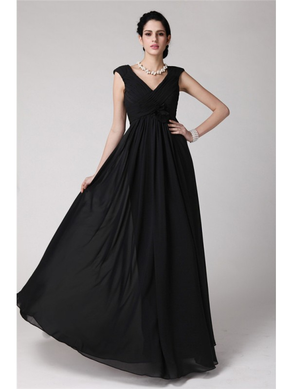 Sheath Chiffon V-neck Sleeveless Floor-Length With Pleats Dresses