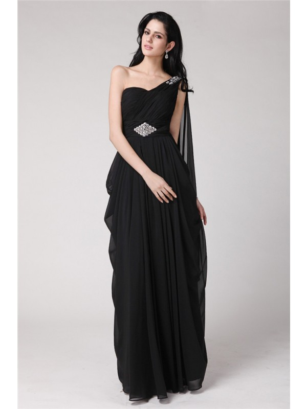 Sheath Chiffon One-Shoulder Sleeveless Floor-Length With Beading Dresses