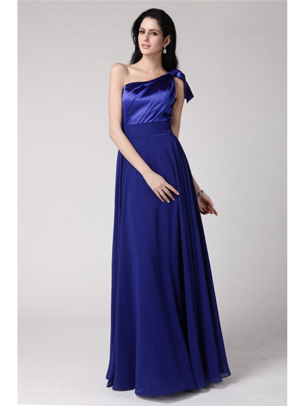 A-Line Elastic Woven Satin One-Shoulder Sleeveless Floor-Length With Pleats Dresses
