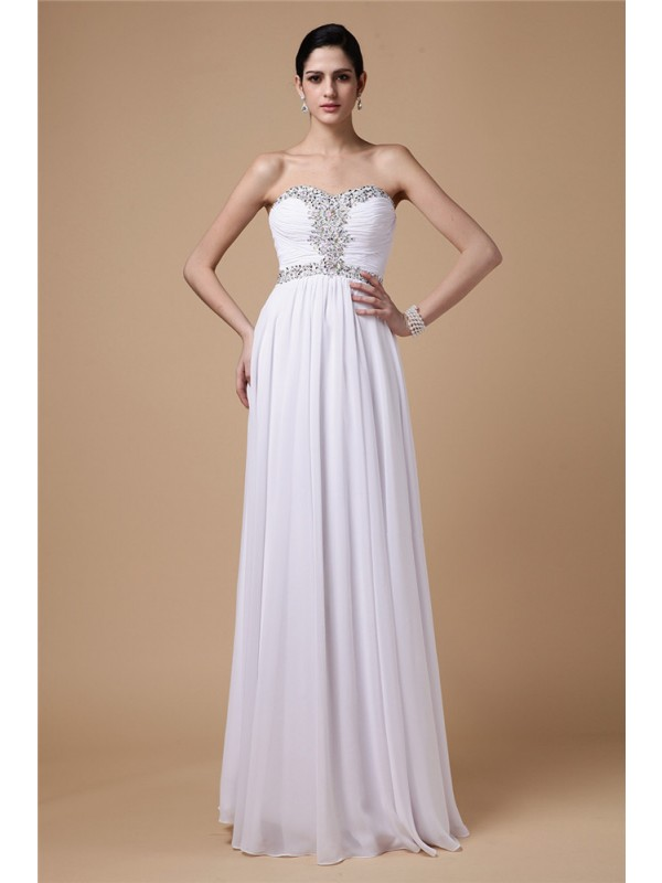 Sheath Chiffon Strapless Sleeveless Floor-Length With Beading Dresses